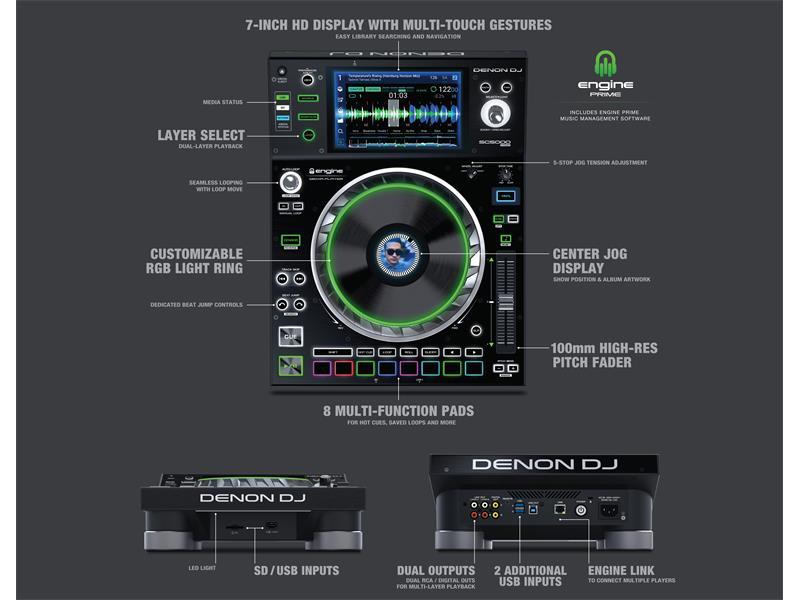 """DENON DJ SC5000 Prime - Professioneller DJ Media-Player mit 7"""" Multi-Touch Display"""