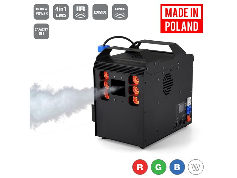 Flash Professional FOG MACHINE / GEIZER 1500W + 6x10W RGBW LED, DMX