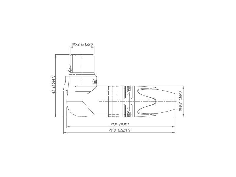Neutrik NC3 FRX BAG Schwarz - Winkelstecker