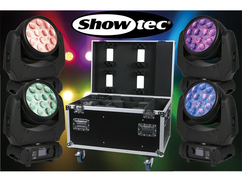 4er Set SHOWTEC Phantom 120 LED Wash - 12 x10W RGBW Moving-Head + Case