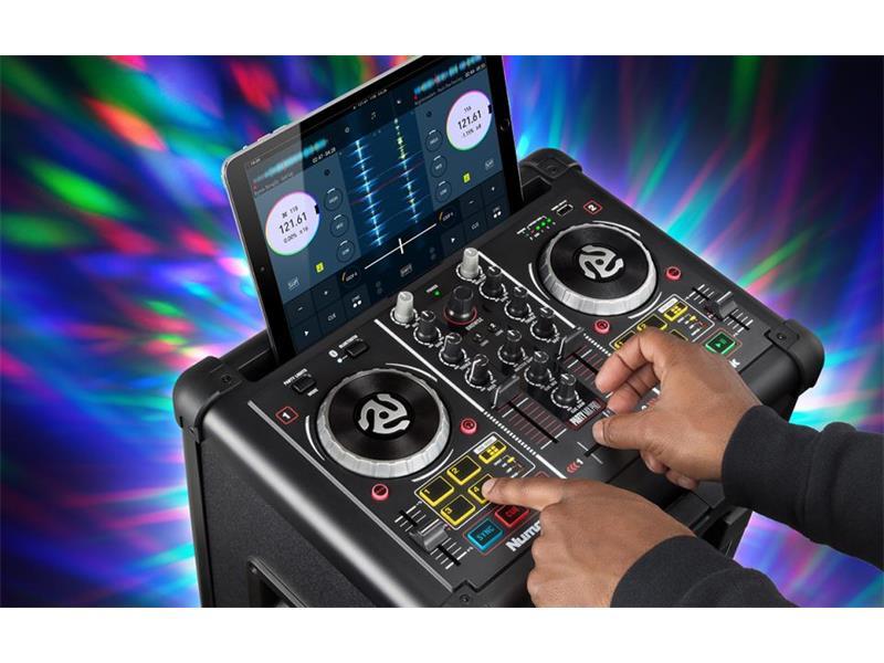 Numark Party Mix Pro, DJ Controller mit Lichtshow und Lautsprecher, Akku, bluetooth