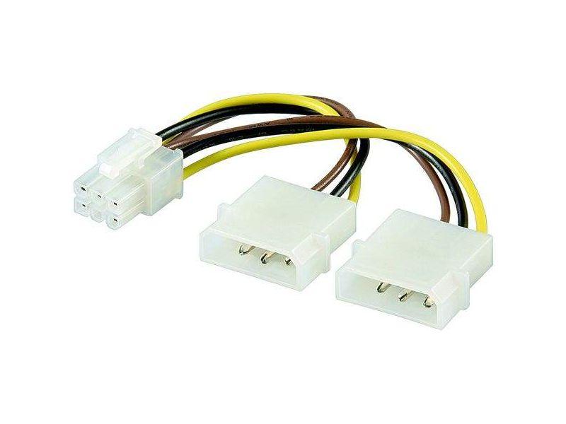 Internes Stromkabel Lose Ware, 2 x 5,25 Stecker > PCI Express 6 pin