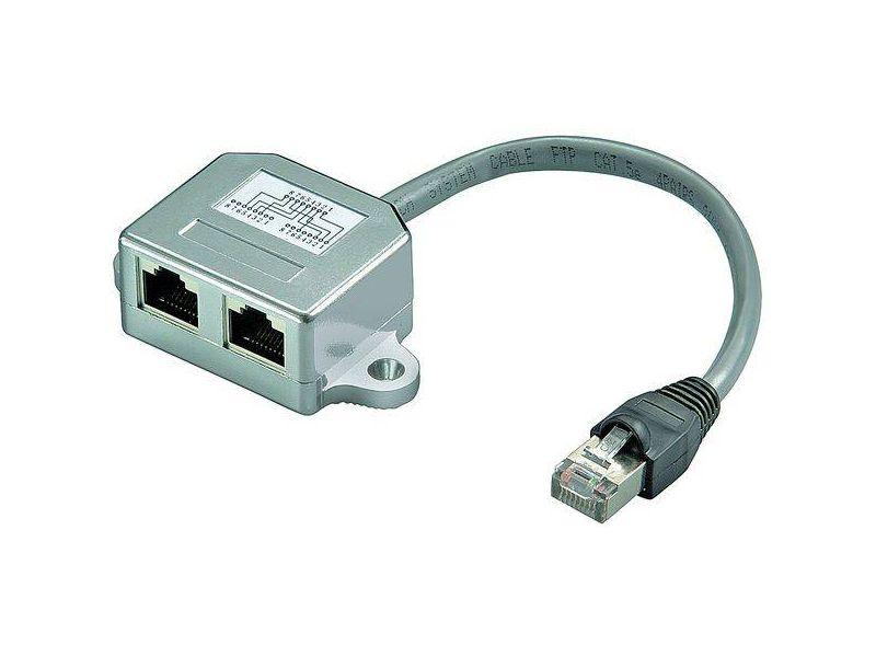 Beschaltung CAT 5 Ethernet + ISDN, 1 x RJ45-Stecker > 2 x RJ45-Buchse