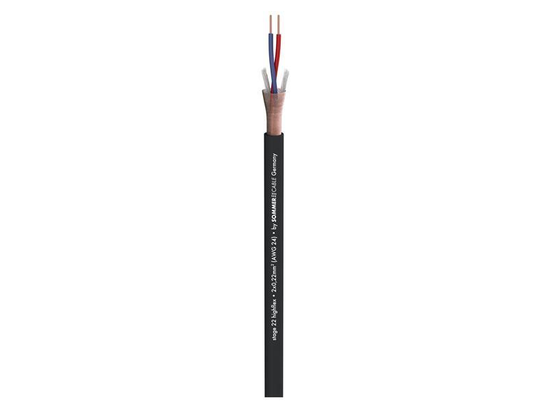 Sommer Cable Mikrofonkabel 100m Stage 22 Highflex; 2x 0,22 mm² schwarz
